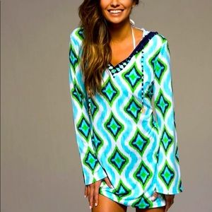 Macbeth Collection Aqua Hooded Swimsuit Cover-Up